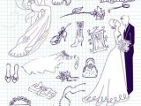 Drawing Cute Bride Wedding Set Of Cute Glamorous Doodles and Frames Royalty Free Stock