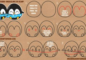 Drawing Cute Logos How to Draw Cute Kawaii Chibi Cartoon Penguins In A Scarf for