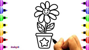 Drawing Cute Plants How to Draw Cute Flowers for Kids Coloring with Colored Marker