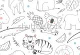 Drawing Cute Tigers Simple Vector Pattern with Animals Cute Children S Wallpaper