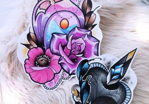 Drawing Diamond Heart Neo Traditional Sweet Girly Tattoo Design Magical Water