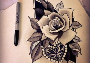 Drawing Diamond Heart Traditional Roses and Heart Tattoos Real Photo Pictures Images and