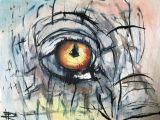 Drawing Eyes Ink Elephant Eye original Painting Watercolor Wood Framed Ink
