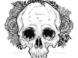 Drawing Flower Head Human Skull Hand Drawn Tattoo Style with Flowers Fonts Logos Icons
