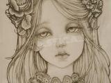 Drawing Flower Head Pencil Drawingoftheday Beautiful Vampire Girl Dramatic Eyes