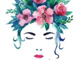 Drawing Flowers In Hair Displate Poster Face Me Face Women Floral Flower Vintage Retro