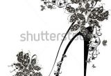 Drawing Flowers On Shoes Shoes On A High Heel Decorated with Flowers and butterflies Vector