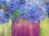Drawing Flowers with Pastels Hydrangeas Pastel Painting 8×10 original Art Painting by Karen