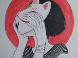 Drawing Girl Mask Kitsune Girl Mask Illustration Watercolor Japanese Art Goals