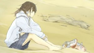 Drawing Girl On Beach originals Anime Girl with Headphones Sitting On the Beach Wallpaper