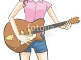 Drawing Girl Playing Guitar Cartoon Girl Playing Guitar In White isolated Background Stock