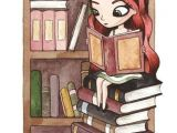 Drawing Girl Reading A Book This Might as Well Be A Self Portrait Long Red Hair Surrounded