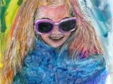 Drawing Girl with Sunglasses Incognito Girl with Sunglasses 8 5 X 11 Alcohol Inks Art Painting