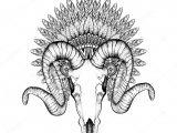 Drawing Goat Skull Hand Drawn Goat Skull In Zentangle Feathered War Bonnet High Da