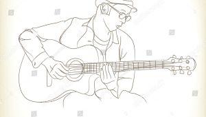 Drawing Hands Guitar Guitar Man Free Hand Drawing Vector Stock Vector Royalty Free