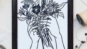 Drawing Hands Holding Flowers Tattoo Style Hand Holding Flowers Linocut Block Print Art Print