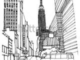 Drawing Hands In Perspective Scene Street Illustration Hand Drawn Ink Line Sketch New York City