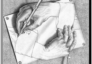 Drawing Hands Mc Art Com Drawing Hands Wood Wall Art by M C Escher White 45