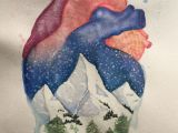 Drawing Heart is Anatomical Heart and Winter Mountain Landscape Watercolor Painting