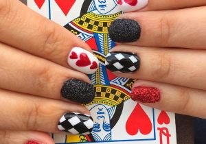 Drawing Heart On Nail Queen Of Heart Nails Red and Black Glitter Checkered Nails and