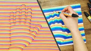 Drawing Heart Trick Art On Lined Paper 3d Hand Drawing Step by Step How to Trick Art Optical Illusion