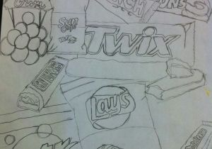 Drawing Ideas High School Sketchbook Junk Food Fill the Page with Junk Food Any Medium by