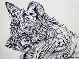 Drawing Indian Wolf Wolf Abstract 1 Artwork Artist Sherry Sahni