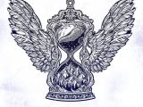 Drawing O Clock Times Decorative Antique Winged Hourglass with Mountain Stars and Moon