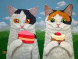 Drawing Of A Calico Cat Cakes and Kittens Art Print Calico Cats and Cupcakes Cats Of Cary
