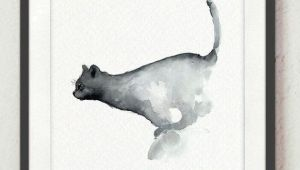 Drawing Of A Cat Jumping Jumping Cat Watercolor Painting Navy Blue Cats Nursery Wall