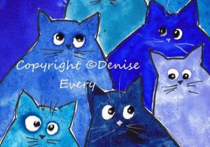 Drawing Of A Cat Playing Whacky Blue Kitties Whimsical Cat Art Print Abstract Cat Art Cat