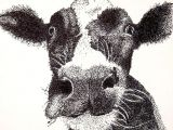 Drawing Of A Cattle Cow original Pen and Ink Pointillism Drawing Products Drawings