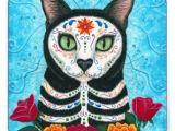 Drawing Of A Dead Cat Day Of the Dead Cat Sugar Skull Art Sticker Los Muertos