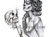 Drawing Of A Dead Girl Fanciful Woman and Skull Tattoo Drawings Tattoos Skull