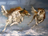 Drawing Of A Dog Running Kravchenko Oksana B 1971 Borzois Running Art Pinterest