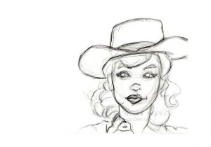 Drawing Of A Farm Girl Pencil Sketch Drawing Of Retro Girl In Cowboy Hat 8×12 Inch Art