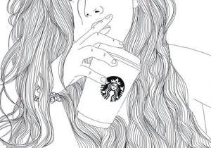 Drawing Of A Girl Black and White Art Black White Drawing Girl Outlines Starbucks Image I