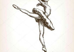 Drawing Of A Girl Dancing Ballet Ballet Dancer Girl Sketch Vector Grafika Wektorowa