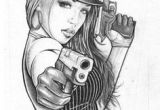 Drawing Of A Girl Holding A Gun Gangster Girl Gun Violence Police Tattoo Drawings Tattoos