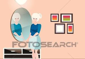 Drawing Of A Girl Holding A Mirror Clipart Of Pretty Girl with Mirror K54263234 Search Clip Art