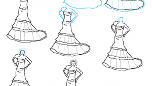 Drawing Of A Girl In A Dress Step by Step Image Detail for How to Draw Wedding Dresses Step by Step 500×513