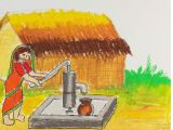 Drawing Of A Girl In Water How to Draw A Village Scenery Of Woman Taking Water From Tube Well