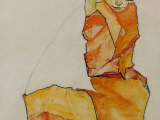 Drawing Of A Girl Kneeling Egon Schiele Kneeling Female In orange Dress C 1910 Eden Vizual