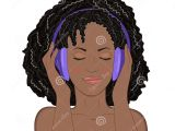 Drawing Of A Girl Listening to Music African Girl with Eyes Closed and A Smile Listening to Music In