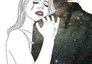 Drawing Of A Girl Looking at the Stars Art Boy Drawing Galaxy Girl Hug Illustration Space
