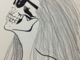 Drawing Of A Girl Looking Up My Skull Girl Drawing Girl Drawings Drawings Und Skull