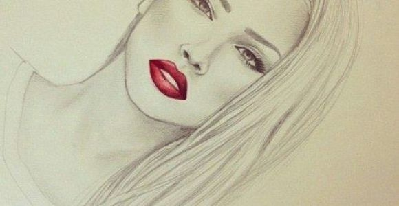 Drawing Of A Girl S Lips Photography Pretty Drawing Art Red Girl Cute Black and White Fashion