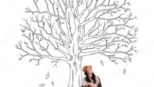 Drawing Of A Girl Sitting Under A Tree Beautiful Woman Sitting Under Sketch Of Tree Zdja Cie Stockowe
