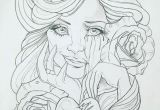 Drawing Of A Girl Tattoo My Drawing Girl Cute Awesome Sad Crying Happy Brokenheart Color