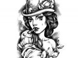 Drawing Of A Girl Tattoo Steampunk Lady Waterproof Temporary Tattoo In 2019 Tattoo